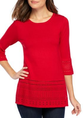 Kim Rogers Women's Petite Size- Pointelle Baby Bite Hem Top - Red Mercury - Pxl