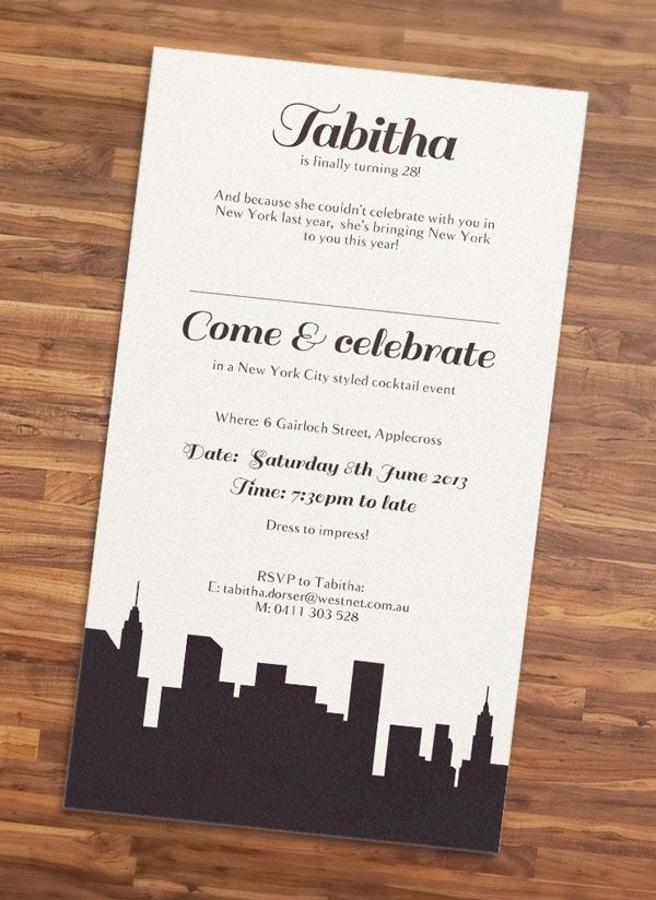 new work new york city party invitation big apple party
