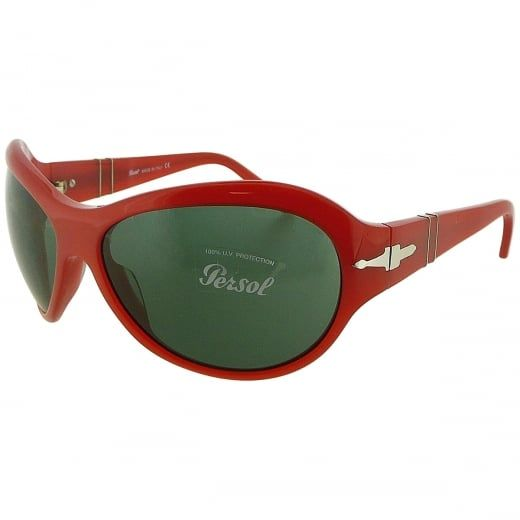 Persol Ladies Red Oversized Wrap Sunglasses With Meflecto Flexi Stem. Model Number: 2787-S 690 71. Defined by their smooth curves and vintage inspired design, these feminine wraparound Persol sunglasses will add instant glamour to your look.