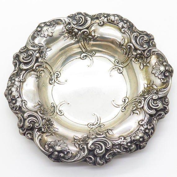 Vtg Gorham Sterling Silver Floral Repousse Bon Bon  Nut  Snack Bowl