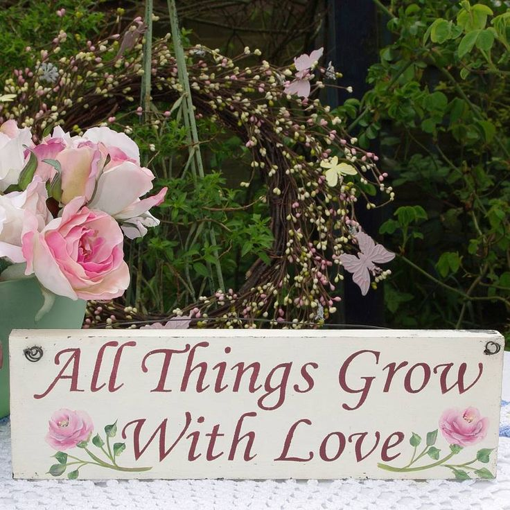 Grow with love - hand painted sign