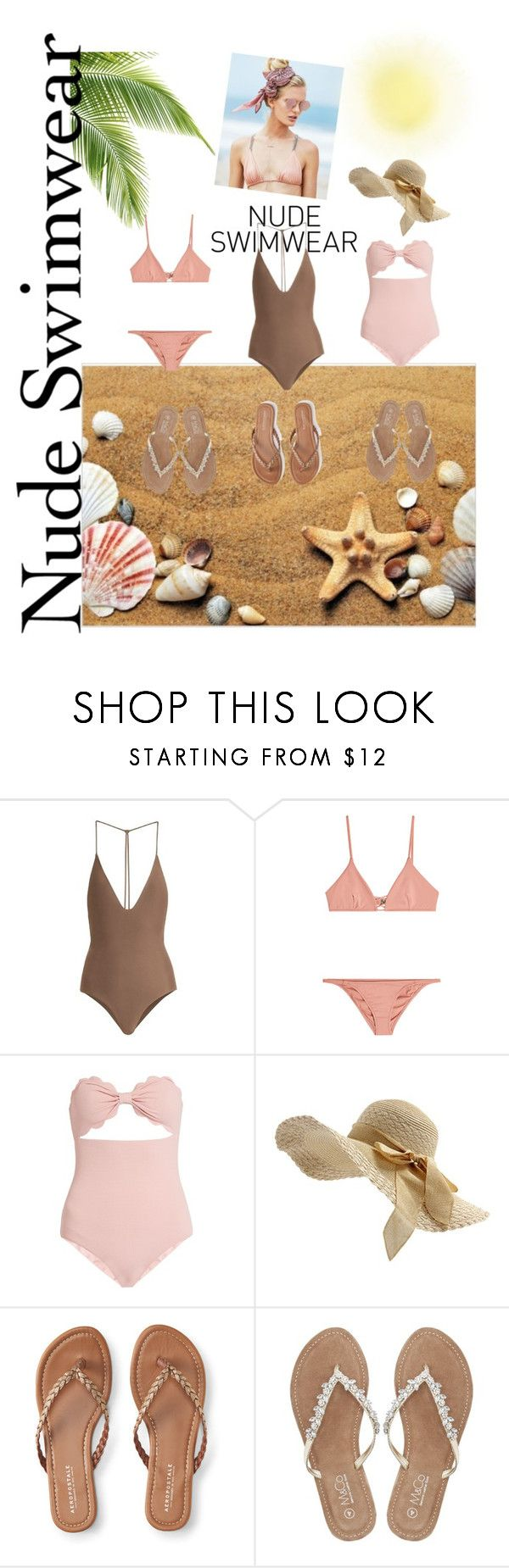 Nude Swimwear by adriana-n-stephen-dibello on Polyvore featuring Marysia Swim, Jade Swim, Melissa Odabash, Aéropostale, M&Co and Beach Riot