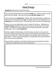 Heat Energy Worksheet 1 | Subject Science | Heat energy, Worksheets ...