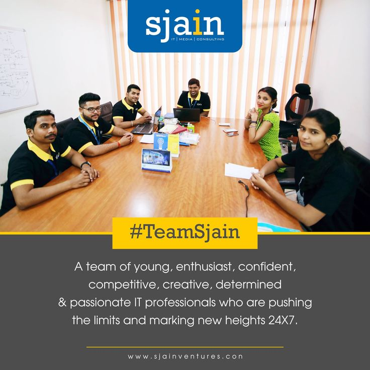 A team of #young, #enthusiast, #confident, #competitive, #creative, #determined and #passionate IT professionals who are pushing the limits and marking new heights 24X7.  #SjainVentures #TeamSjain