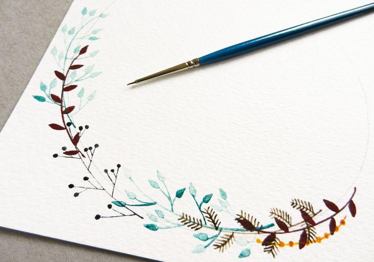 Botanical watercolor wreath tutorial