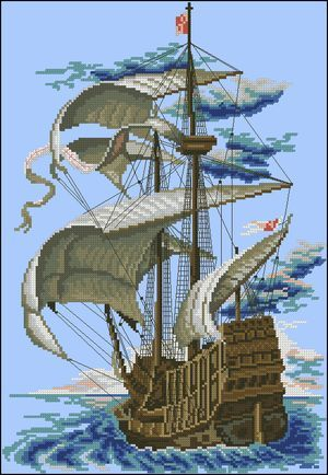 "Free cross-stitch pattern ""Sailboat"" 