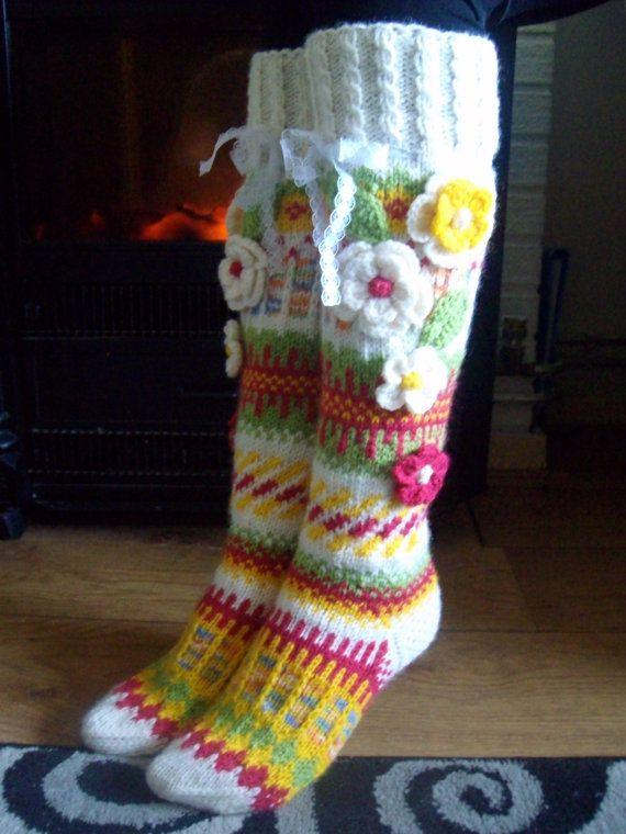 Hand knit knee socks House knee socks  Woman door MIMIARfashion