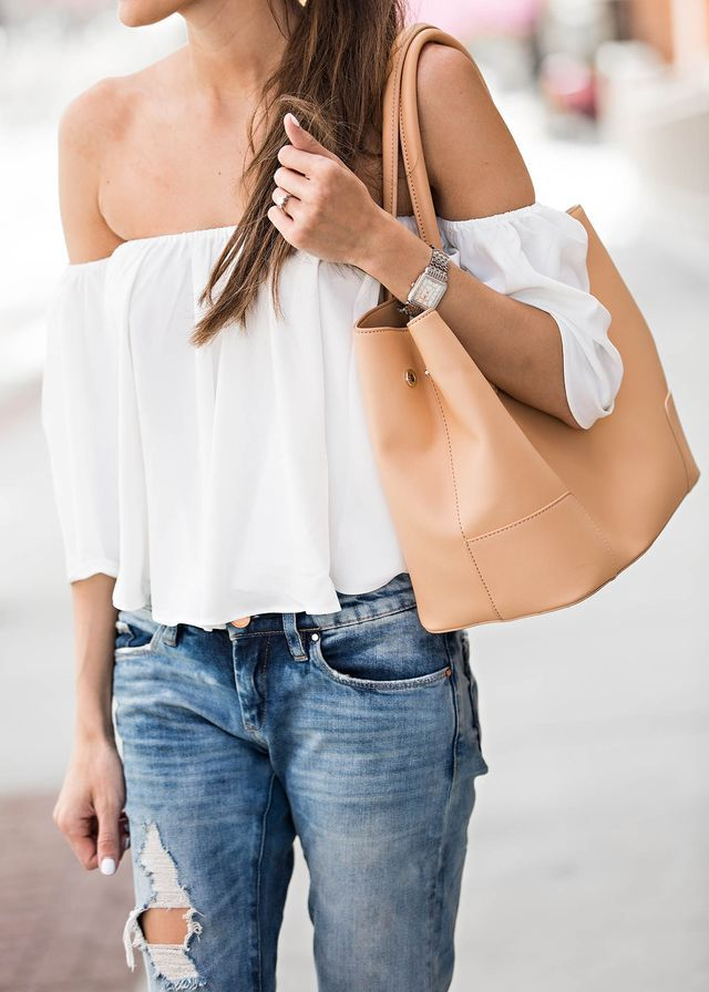 DETAILS: OFF THE SHOULDER TOP (UNDER A $100) | DENIM (UNDER A $100)| PLATFORM SANDALS (BUDGET-FRIENDLY OPTION HERE) | WATCH (BUDGET-FRIENDLY OPTION HERE) | TOTE (UNDER $100)   SUNGLASSES (SIMILAR UNDE