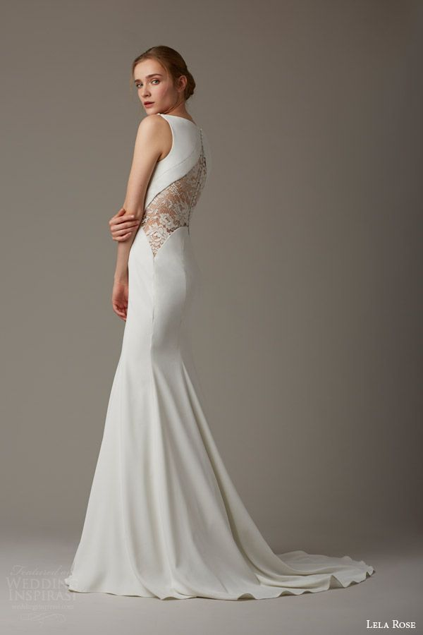 lela rose bridal spring 2016 the paddock sleeveless mermaid wedding dress sheer lace panel back