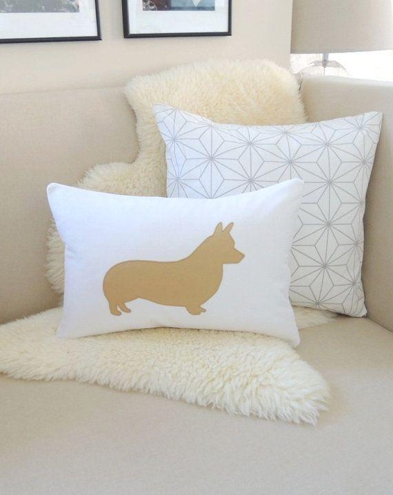 Corgi Pillow Cover, Pembroke Welsh Corgi Dog Silhouette Appliqué, White & Camel Tan, More Colors, Modern Chic, Corgi Gift 14x20 18x18