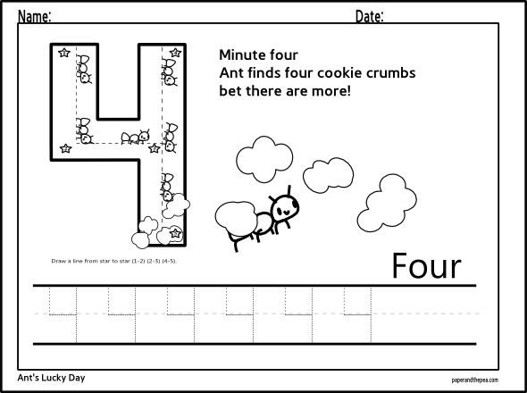 Tracing Number Four Worksheet Paper And The Pea