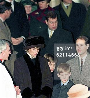 SANDRINGHAM, UNITED KINGDOM - DECEMBER 25: Princess Diana, Prince Wiliam And Prince Harry With Prince Charles At Church On Christmas Day (Photo by Tim Graham/Getty Images)