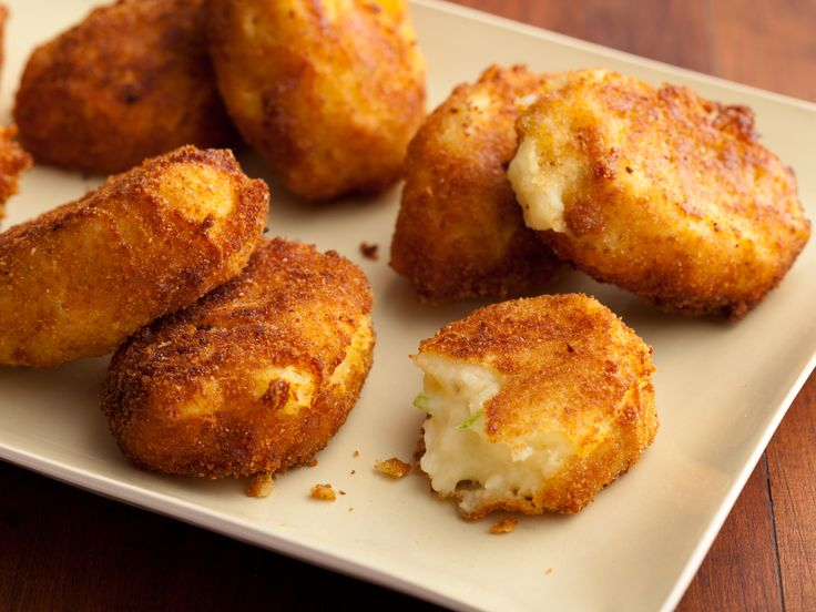 Potato Croquettes from Paula Deen! Great idea to use up leftover mashed potato. has some good ideas in the comments - ie panko