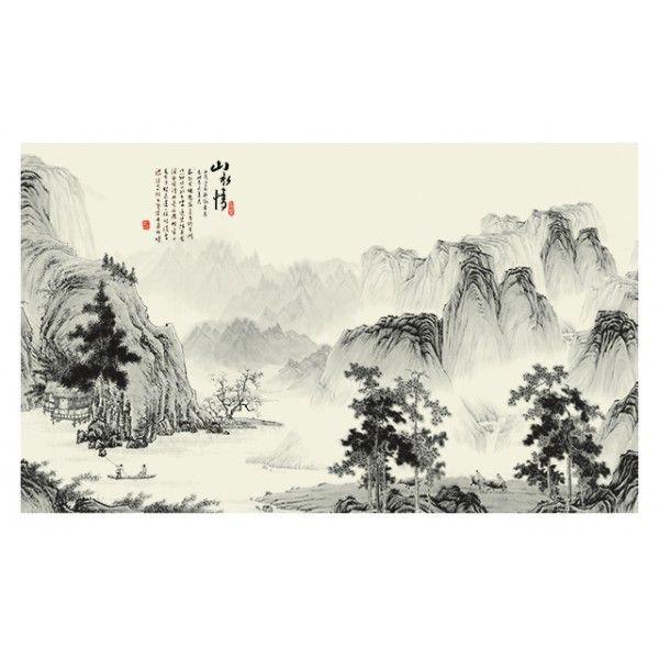 papier peint chinois paysage zen en noir et blanc-Dans la montagne