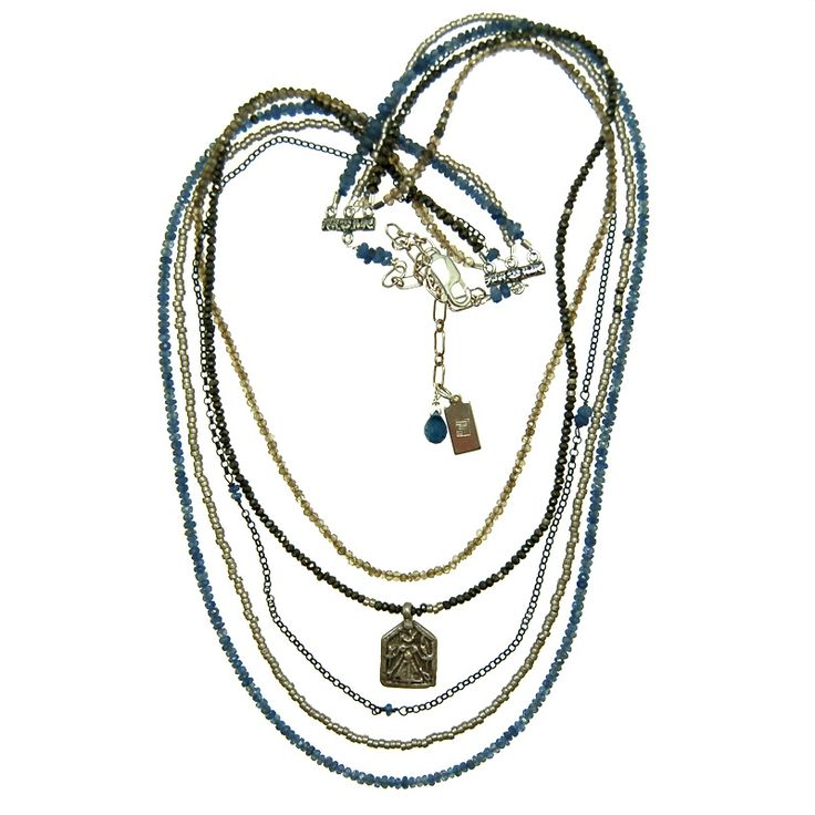 Multi Chain Sterling Silver Necklace with Blue Sapphire, Smokey Quartz and Pyrite (N1919MW) $600