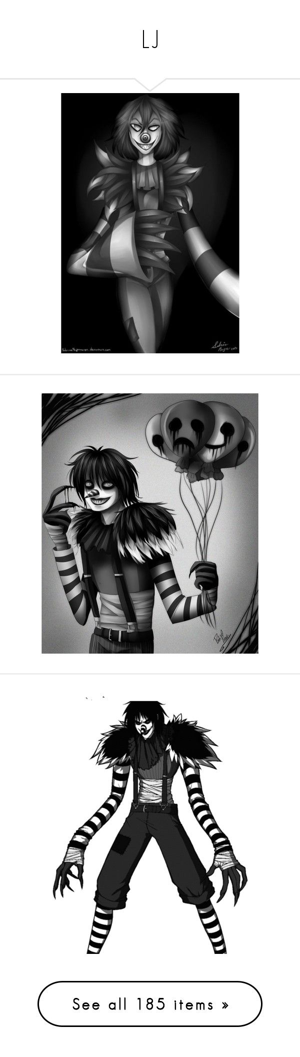 """""""LJ"""" by bluekiller2002 ❤ liked on Polyvore featuring creepypasta, people, laughing jack, pictures, anime, tops, t-shirts, multicolor, long sleeve cotton tops and multi color t shirts"""