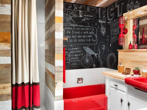 Thanks to clever repurposing, its use of reclaimed materials and a bold color palette, this Hollywood bathroom is ready for its close-up.