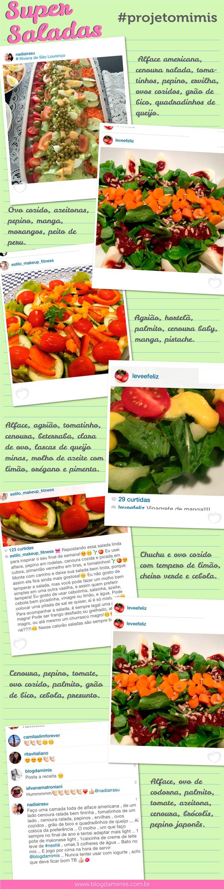 Super Saladas - Blog da Mimis - O ano está começando e é a hora de dar um start na DIETA! E a melhor forma para EMAGRECER é apostando nas saladas! Elas saciam e são super práticas!