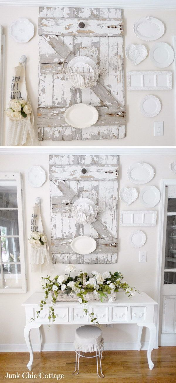 White Plates Around On The Wall By The Chippy Barn Door