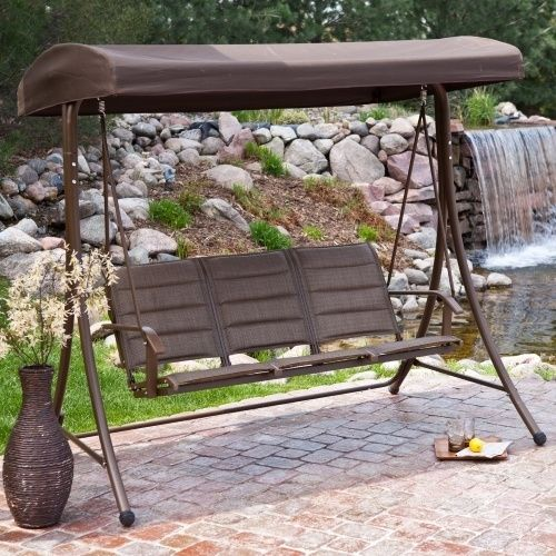 3-Seater Outdoor Canopy Swing with Steel Frame in Bronze