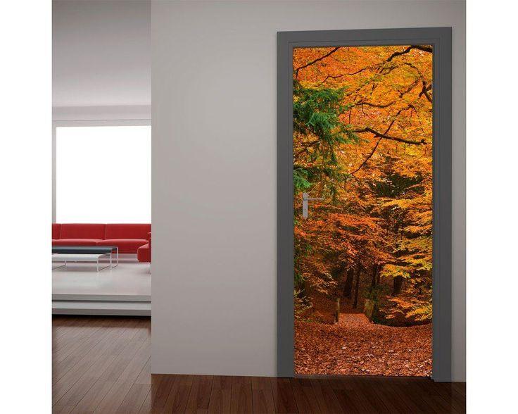 Φθινοπωρινό μονοπάτι στο δάσος, αυτοκόλλητο πόρτας , δείτε το!
