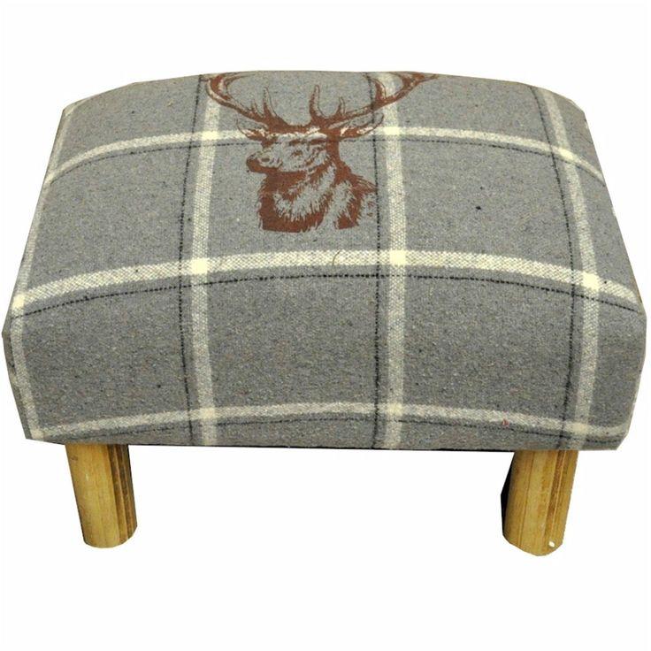 Rectangular Grey Stag Footstool | eBay