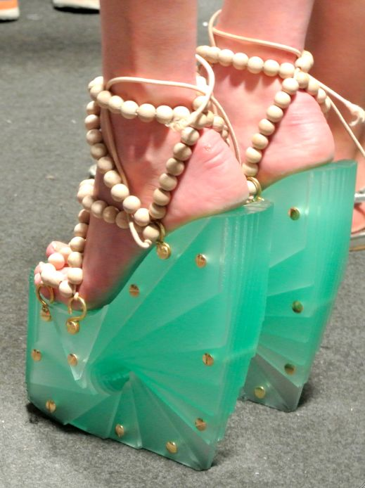 These are kind of ugly but I absolutely love the idea of the heel and sole of a shoe being made out of some sort of jade or beautiful rock