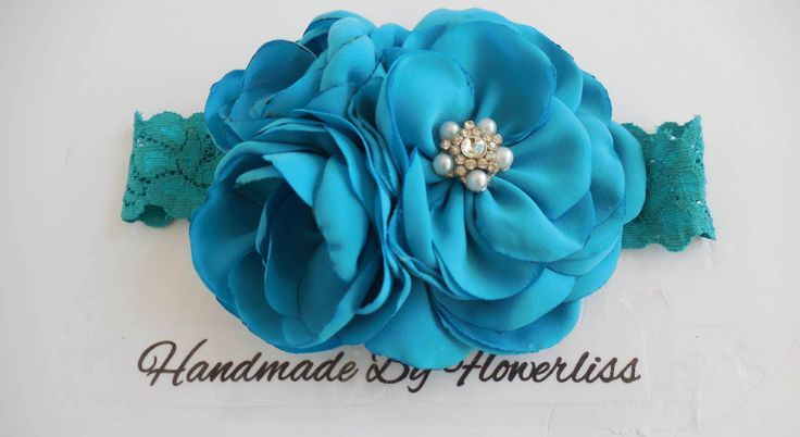 green -blue flowers headband,handmade headband,girl's headband. by flowerliss on Etsy