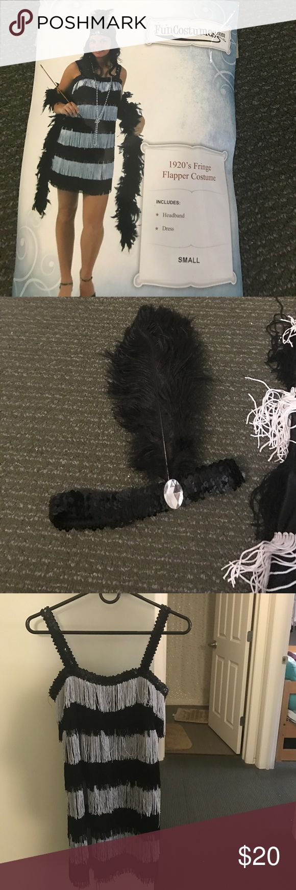 Flapper girl costume Dress and headband flapper girl costume size small. Used once for a 20s themed dance and dress and headband in very good condition. Perfect for Halloween costume Other