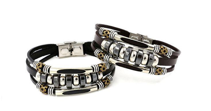 Leather Stainless Steel Men Bracelet Jewelry
