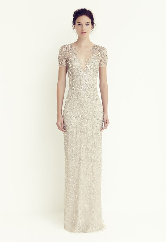 Jenny Packham Jocasta. Gorgeous understated sparkle. And elegantly covered shoulders to make both mom and bride happy! #wedding #mybigday