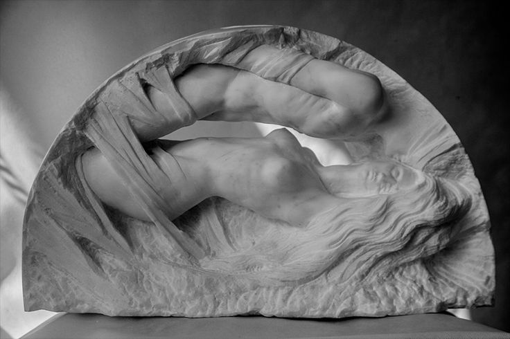 Michal Jackowski, NOKTURN, 70 x 40 x 25 cm, Carrara white marble, 2016  #sculptures #woman #artact #humans #antique #pinart #creative #passion #love #art #classic #feather #soft #exhibition #polishart #soft #naked