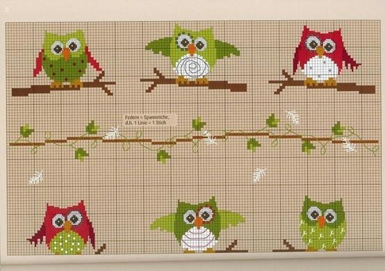 Owl cross stitch on Craft.