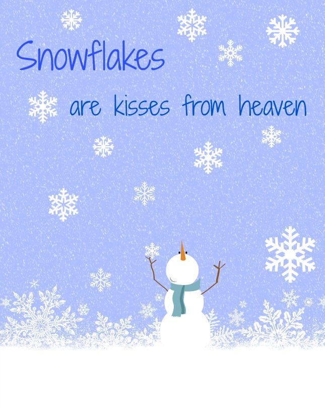 Snowflakes are kisses from heaven free printable from Cottage at the Crossroads