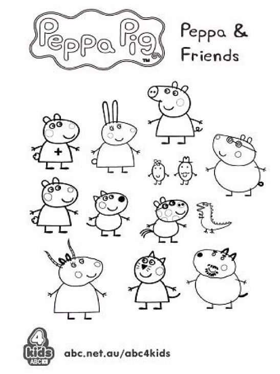 Peppa Pig and friends in free preschool coloring page