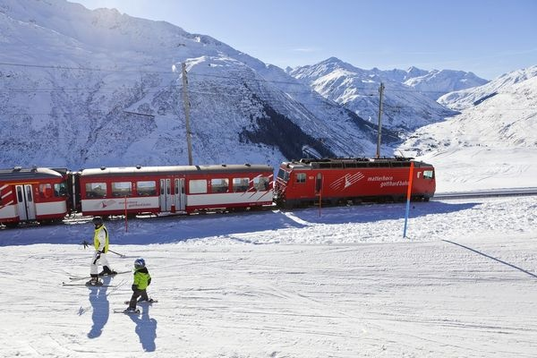 This is the craziest part about skiiing in Europe.  Many of the ski areas have actual trains that take you up the mountain. I recall my father talking about this in the context of his several post-WWII trips to Europe, and finally had a chance to experienced it last December in Zermatt. The train literally takes you halfway up the mountain for skiing.