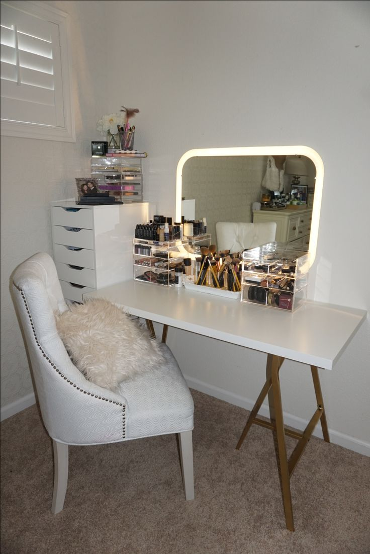 Vanity Table created using makeup storage from Vanity Collections. Also at  Instagram @ vanitycollectionsxo.