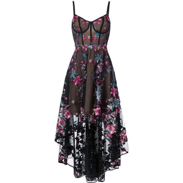 Marchesa Notte floral embroidered high-low dress (€1.190) ❤ liked on Polyvore featuring dresses, gowns, vestidos, black, corset ball gown, embroidered gown, floral embroidered dress, high low evening dresses and hi lo dresses