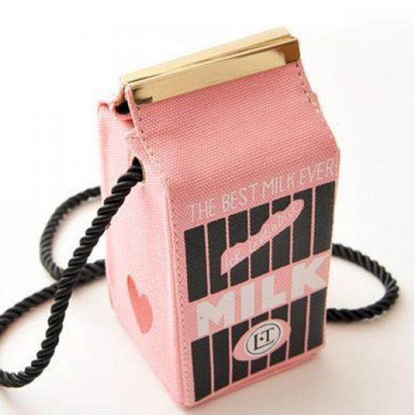 Cute Milk Box Shape and Canvas Design Crossbody Bag For Women