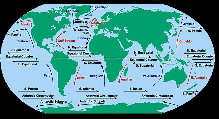 North Equatorial Current Map   currents going to the