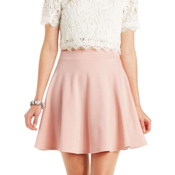 Charlotte Russe Ponte Knit Skater Skirt (£8.08) ❤ liked on Polyvore featuring skirts, bottoms, pale mauve, flared skirt, high-waisted skater skirts, circle skirt, pink skirt and high waisted flare skirt