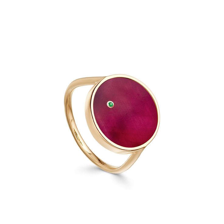 Mars Ruby Ring.  Cocktail ring with polished ruby in yellow gold with a tiny emerald martian.
