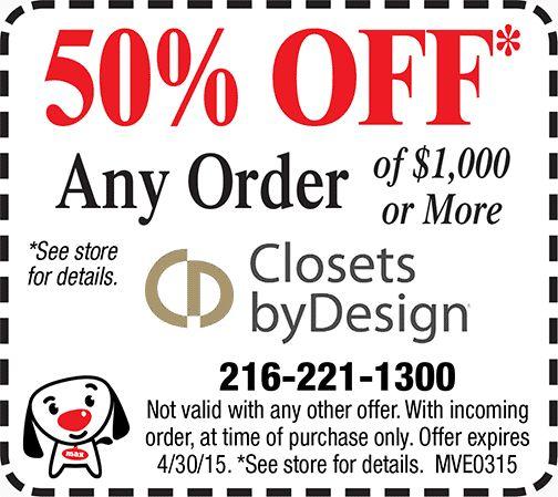 California closets coupons discounts