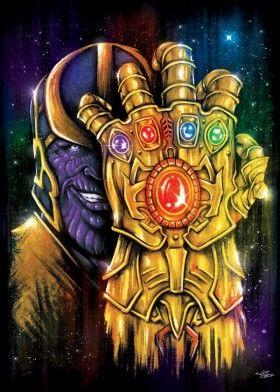 Thanos - infinity gauntlet stones marvel comics avengers epic space portrait power armor war