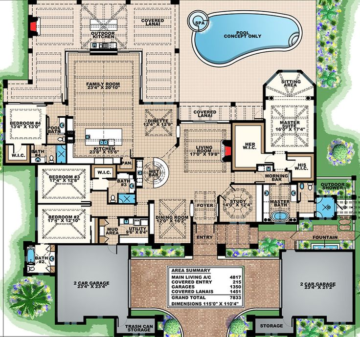 Dream house plans with pool images for Mediterranean style floor plans