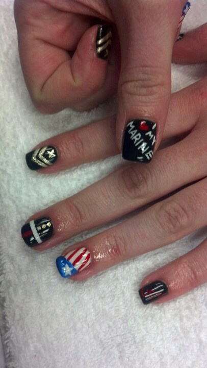 Marine themed nails done by my beat friend Beth!