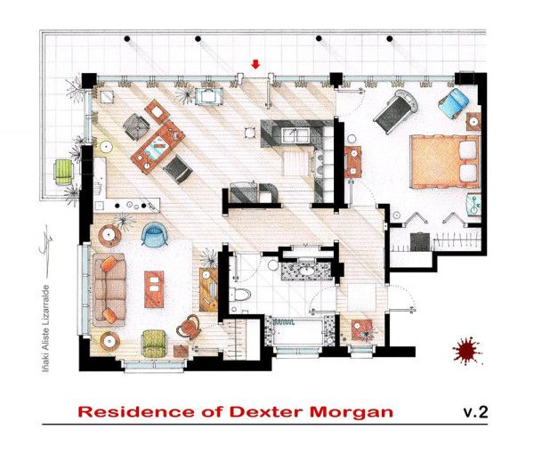 Spanish artist and interior designer Iñaki Aliste Lizarralde draws these famous house and apartment floor plans as a hobby, giving the TV viewer a new perspective on the homes in which our cherished characters reside. This is Dexter Morgan's apartment.