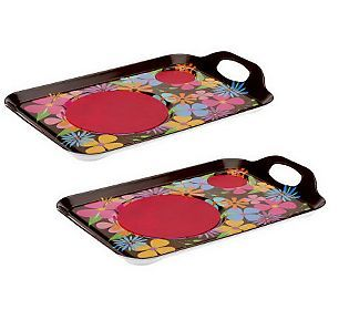 set of 2 lappers dining lap trays with silicone mats images