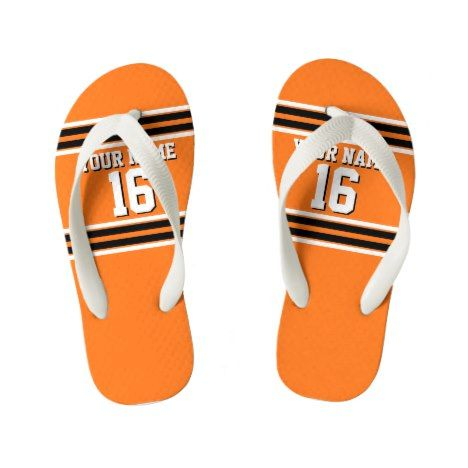 Pumpkin Orange Blk Team Jersey Custom Number Name Kid's Flip Flops #kidsflipflops #flipflops #thongs #kids #summer