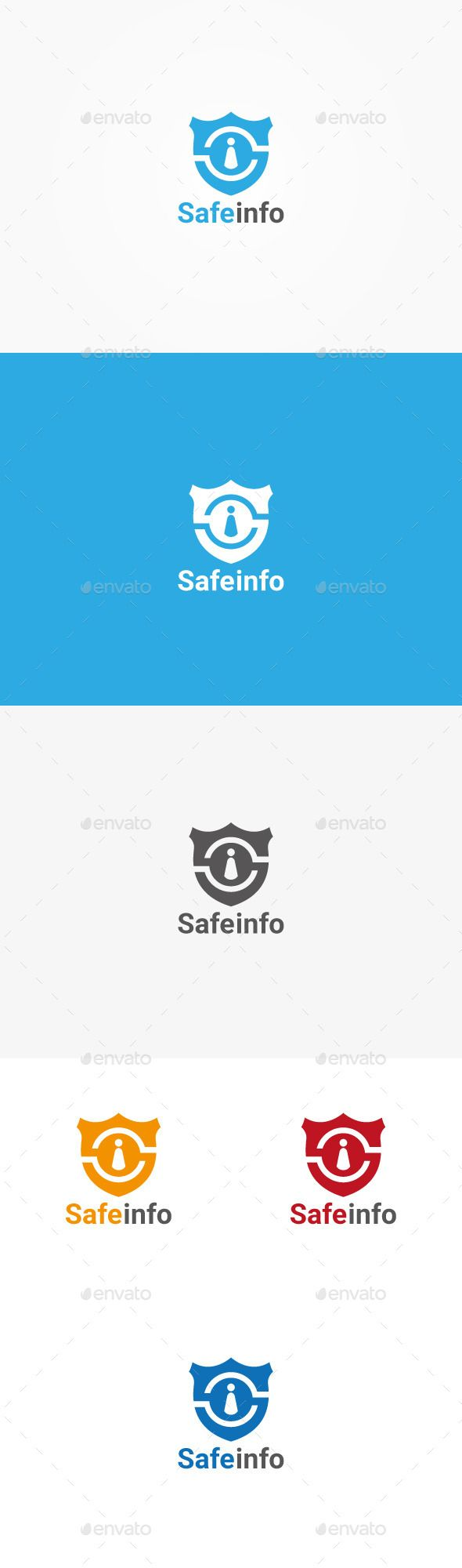 Safe Info Logo (AI Illustrator, Resizable, CS, abstract, access, card, credit, data, human, i, icon, id, identification, identity, info, information, insurance, logo, privacy, private, protect, protection, safe, safety, secure, security, shield, sign, symbol, theft, user, vector)